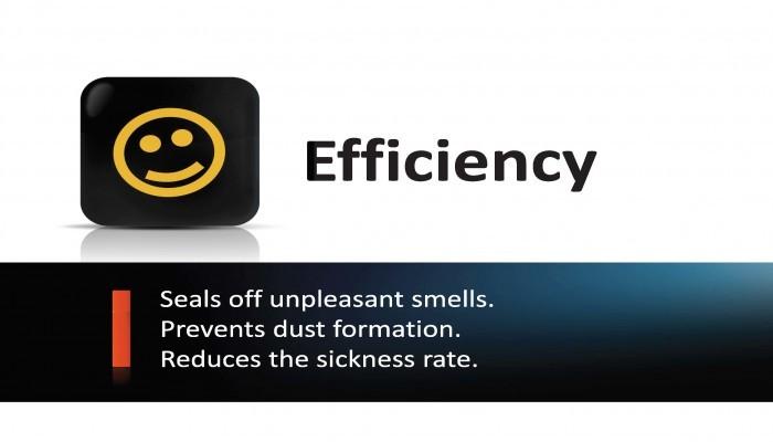 Ilmaverhon tehokkuus - Vähennä epämiellyttäviä tuoksuja, estää pölyn muodostumista ja vähentää sairastelua