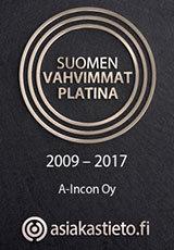 A-Incon Oy Suomen vahvimmat platina 2009 - 2017
